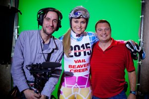 Lindsey Vonn with our green screen crew